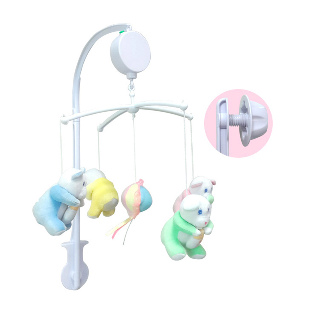 Crib music box for babies - Baby Crib Holder White Rattles Bracket Set Baby Crib Mobile Bed Bell Toy Holder Arm Bracket Wind Up Music Box F