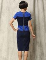 бесплатная доставка, виктория бекхэм стиль контрастного цвета эластичная трикотажная хлопка с коротким рукавом полоса женские