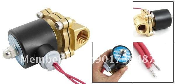 """5 шт. AC220V 1/"""" Two Way 2 Позиция клапан соленоидной воды 2W-160-15 латунь"""
