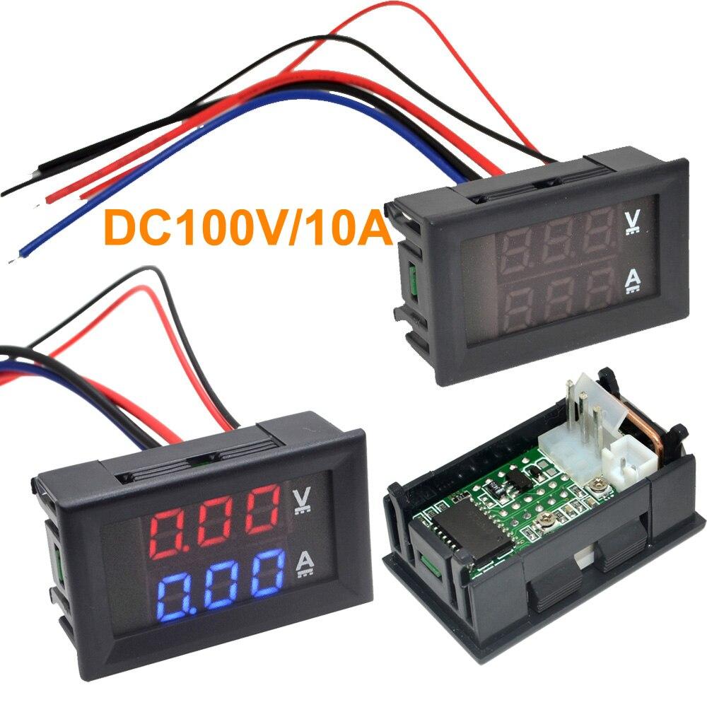 Светодиодный Измеритель постоянного тока 0-100 в 10 А с двойным дисплеем, цифровая фотопанель, усилитель, вольтметр, бесплатная доставка 10000840