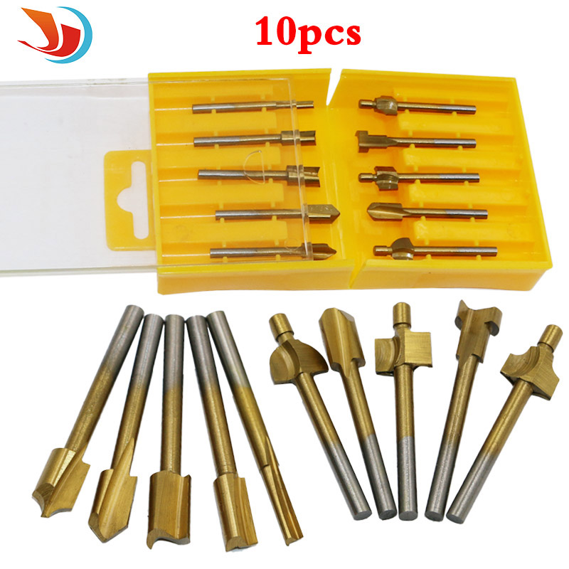 "10pcs 1/8"" HSS Titanium Coated Woodworking Router Bits Wood Cutter Milling Used For Dremel"