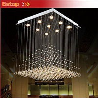 ZX Modern Quadrate K9 Crystal Fish Line Type GU10 Three Color LED Chandelier Pyramid Shape Lamps