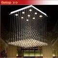 ZX Cuadrado Moderno K9 Crystal Fish línea de tipo GU10 LED de Tres Colores Araña Pirámide Forma Escalera Lámparas Sala de estar dormitorio