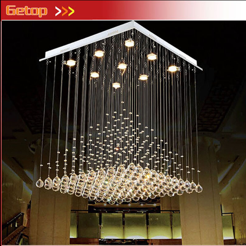 ZX Modern Quadrate K9 Crystal Fish line type GU10 Three Color LED Chandelier Pyramid Shape Lamps Stair Sitting Room Bedroom