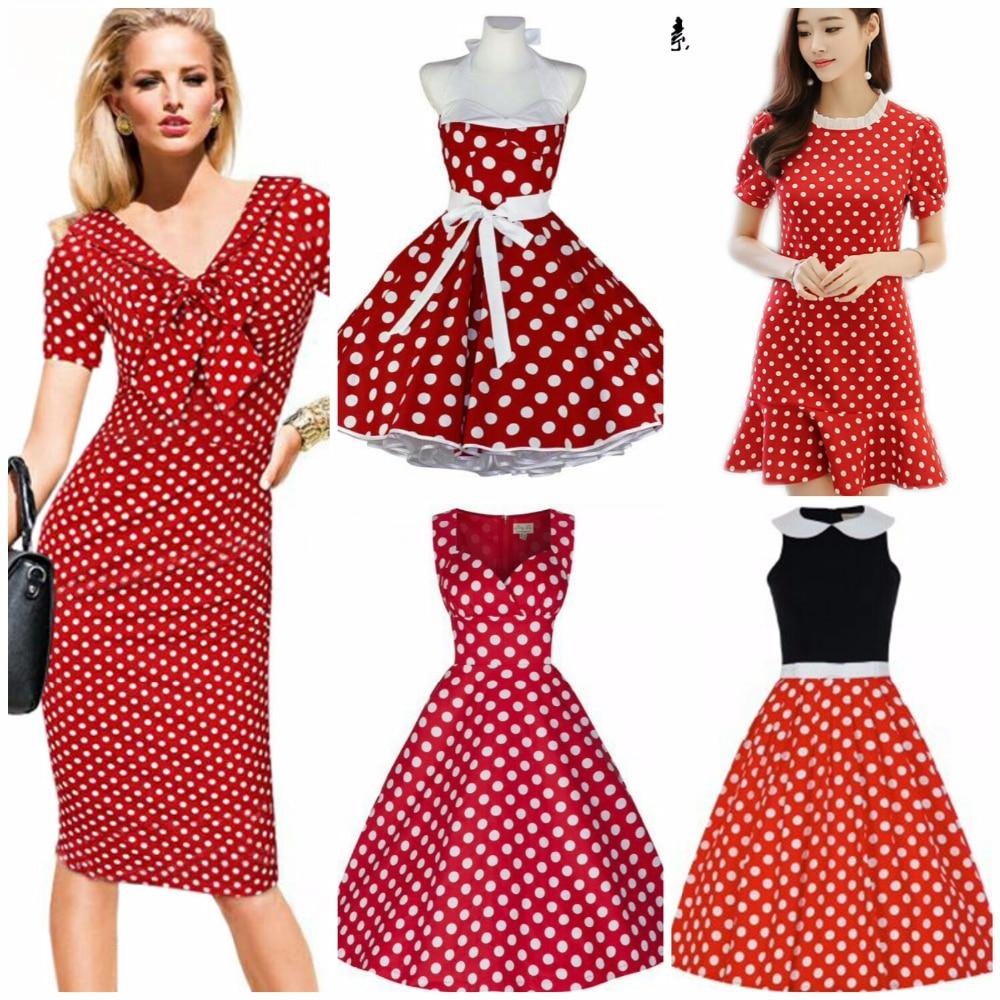 Красное платье в белых горох