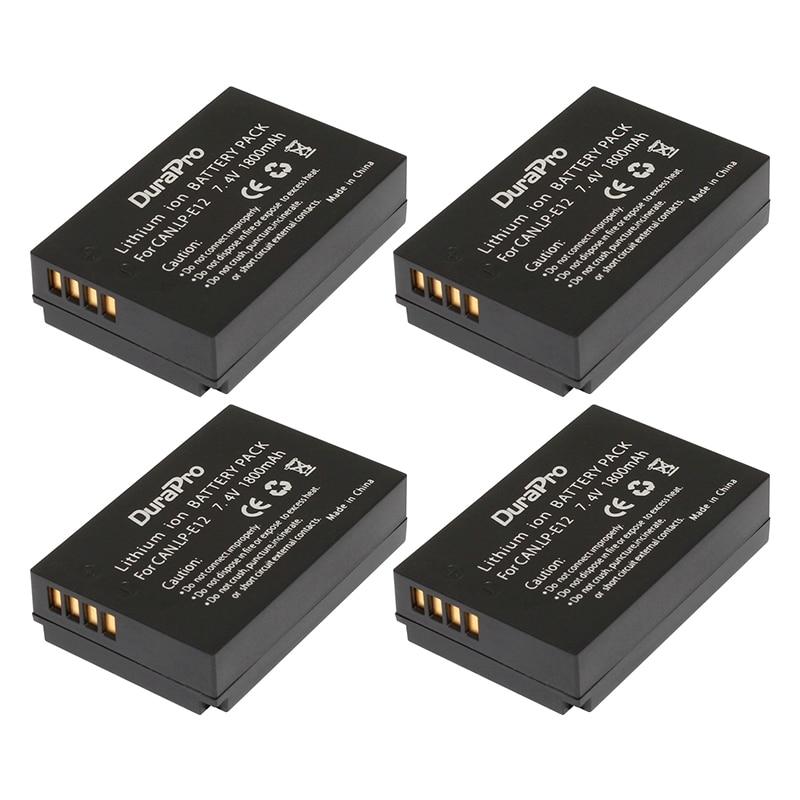 4Pcs 7.4V 1800mAh LP-E12 LPE12 LP E12 Rechargeble Camera batteries for Canon EOS M M2 100D EOSM EOSM2 EOS100D
