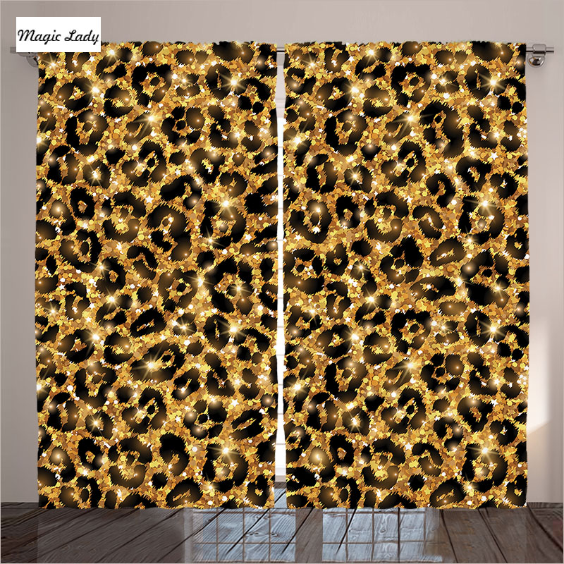 Luxury living room curtains bedroom leopard skin patterns - Black and gold living room curtains ...
