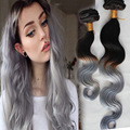 Popular Ombre Black Grey Clip In Hair Unprocessed Brazilian Virgin Hair Body Wave 10pcs/set Grey Clip In Human Hair Extensions