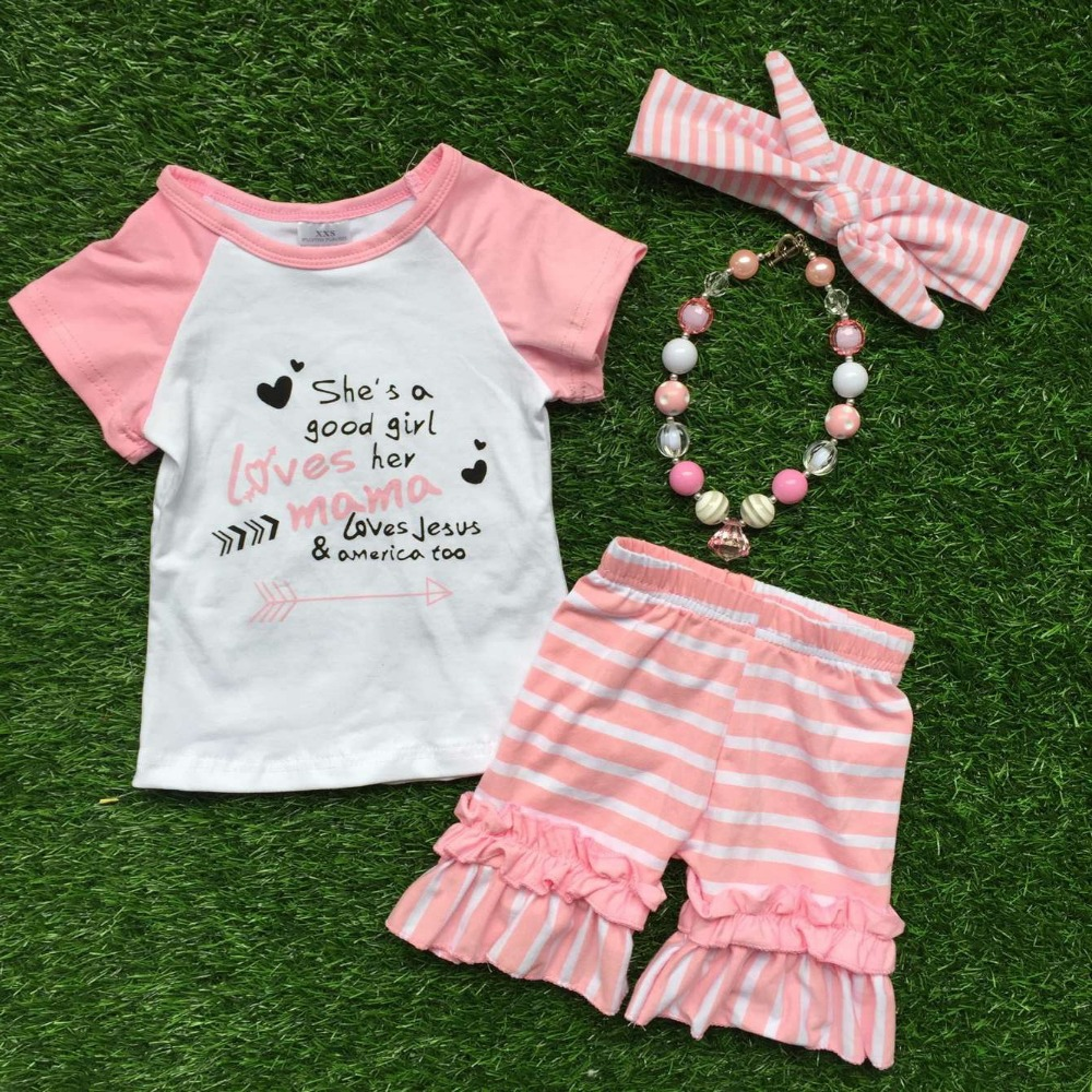kids clothes girls boutique clothing set girls summer outfits short sleeve she is a good girls clothes with accessories