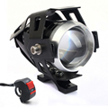 2 PCS 125W 2 Color Waterproof Motorcycle LED Headlight 3000LMW U5 Motorbike LED Driving Fog Spot Head Light Lamp With Switch