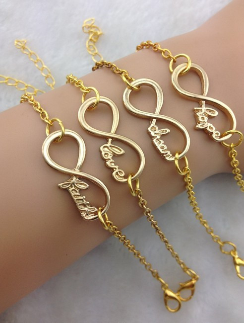 Golden Infinity Bracelet Dream Healthy Wish Love Hope Bracelet1856