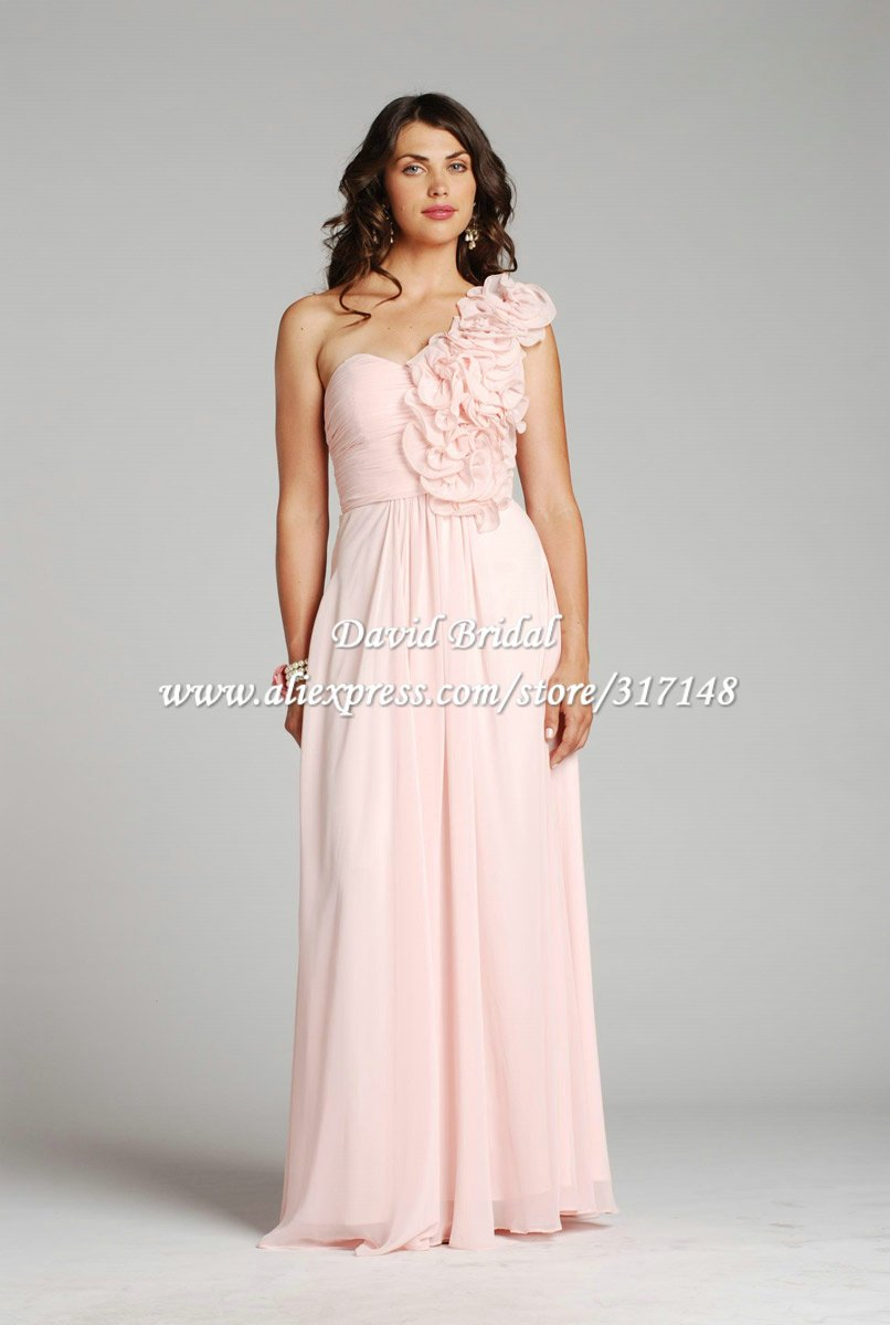 Free shipping he439 flowers strap a line long chiffon light pink free shipping he439 flowers strap a line chiffon light pink bridesmaid dresses one shoulder ombrellifo Image collections