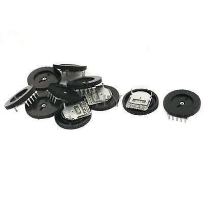10 Pcs B503 50K Ohm 5-Pin Pulley Gear Wheel Potentiometer Black 18mm x 2.8mm rv24yg 20s b503 cosmos tocos dual potentiometer 50k ohm 24mm