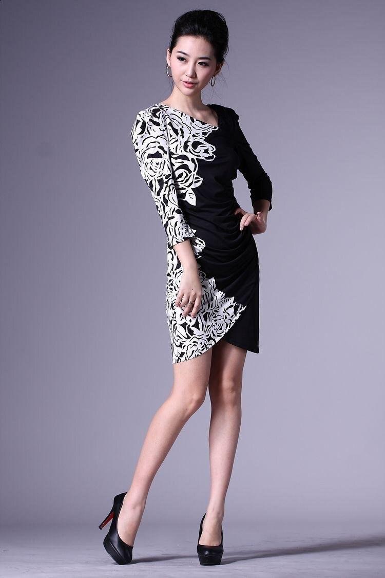 Fashion Nice Print Black White Flower Dress For Women With 3xl