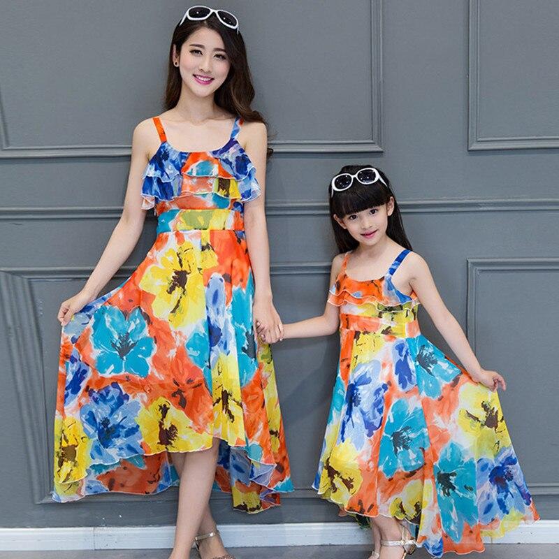 e76180a51e 2018 lato maxi sukienka Czeski matka córka sukienki dopasowanie matkę i  córkę ubrania rodziny wygląd dziewczyna i matka sukienka