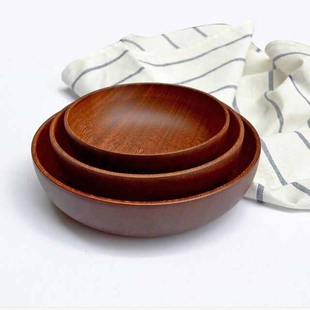 Salatschüssel Holz flache holz schüssel japanischen stil küche werkzeug geschirr woo