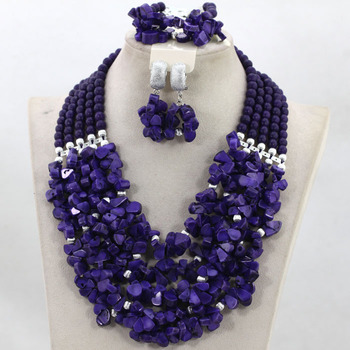 Fashion 5 Layers Purple Coral Bridal African Jewelry Set Nigerian Wedding Coral Beads Women Jewellery Collections CNR518
