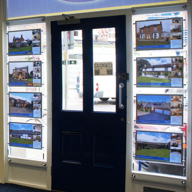 8pcs Acrylic Frameless Led Illuminated Panels Real Estate Agent Window Double Sided Sign Display Kits A3