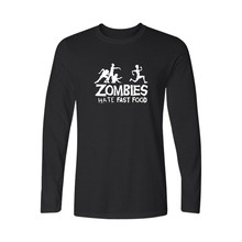 Zombie Series Mens Long Sleeve tshirt Hate Fast Food Cotton T-shirt White/Black Mens Hiphop Cotton Tees and Tops