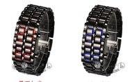 бесплатная доставка мужская стиль красный и синий из светодиодов металл лава часы