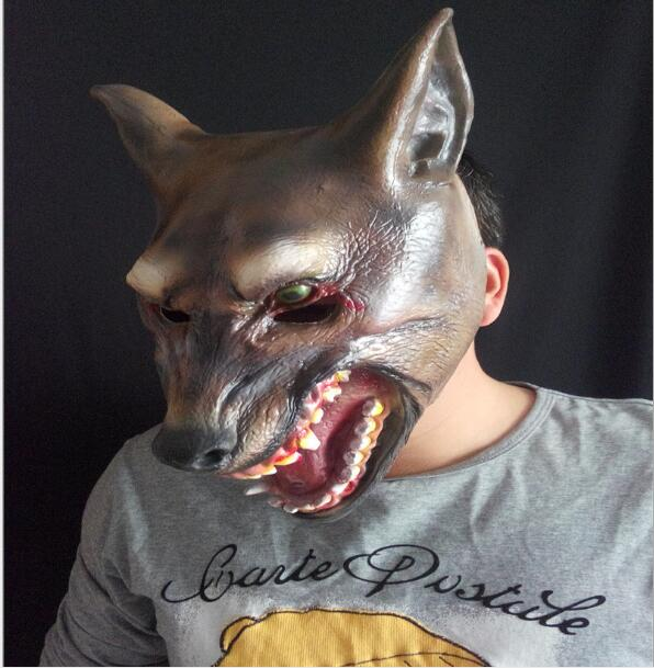 halloween scary wolf mask animal head scary creepy werewolf mask cosplay mask evil monster dog mask - Wolf Halloween