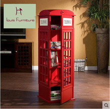 British Style Telephone Booth Vintage Children Creative Bookcase Bookshelf Simple  Cupboard Decoration Store Content  Shelf