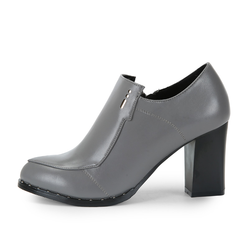 ФОТО Zapatos Mujer Tacon Pumps Heels Shoes High Heel New Style For Edged Zipper Pump Middle Grey Matt Leather66098