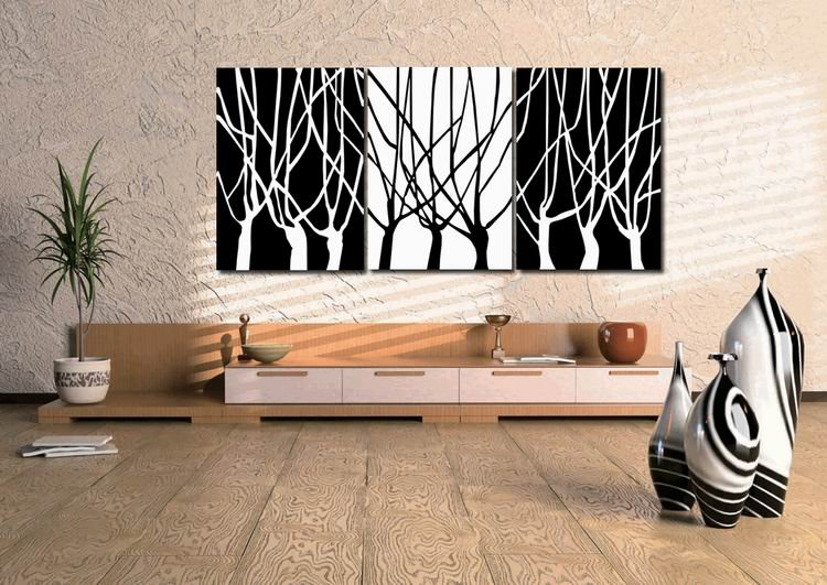 3panels Interesting Huge Modern Painting Canvascharmpicturepicture Superb Canvas Wall Art Black White Tree 35 No Frame Pt35 In Calligraphy