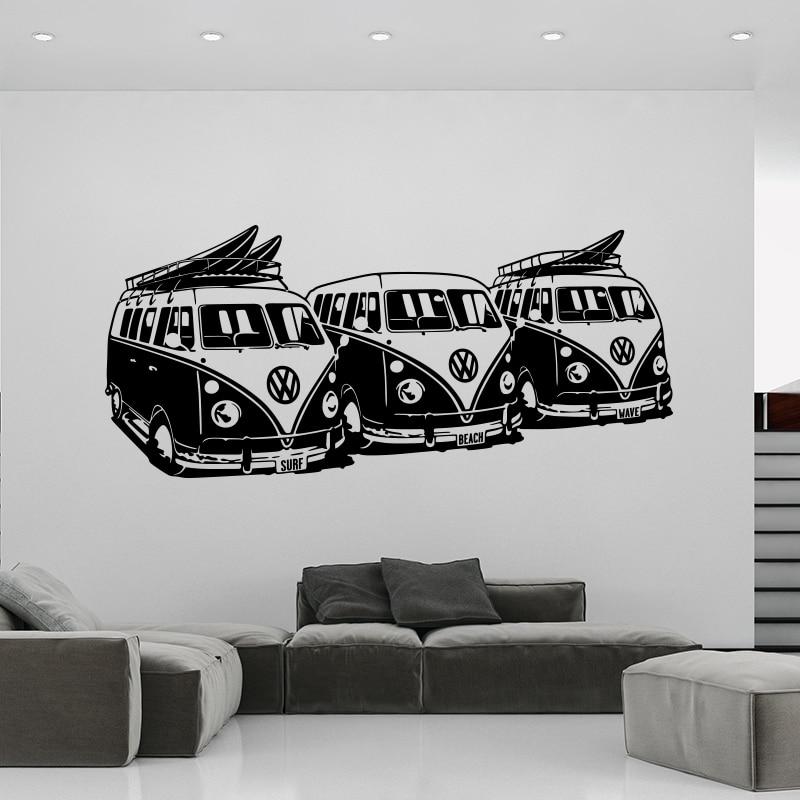 Art Design fali matrica 3 Volkswagen Surf Vans lakberendezési DIY autós fali matricák ház dekoráció falfestmény