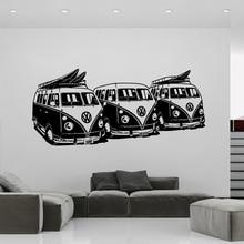 Diseño de arte Etiqueta de La Pared 3 Volkswagen Furgonetas de Surf Decoración DIY etiquetas de La Pared Del Coche casa decoración Mural