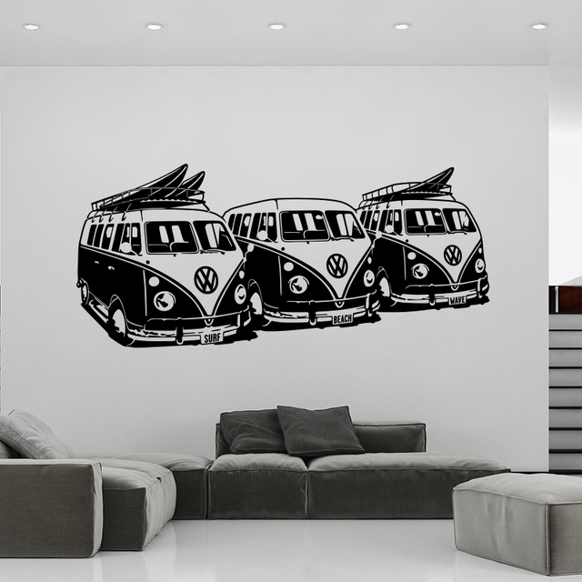 Art Design Wall Sticker 3 Volkswagen Surf Vans Home Decor DIY Car Wall decals house decoration Mural