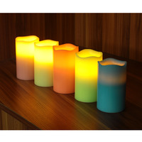 LED Candles With Timer Battery Operated Melted Wave Flameless Real Wax Pillar Light For Home Party