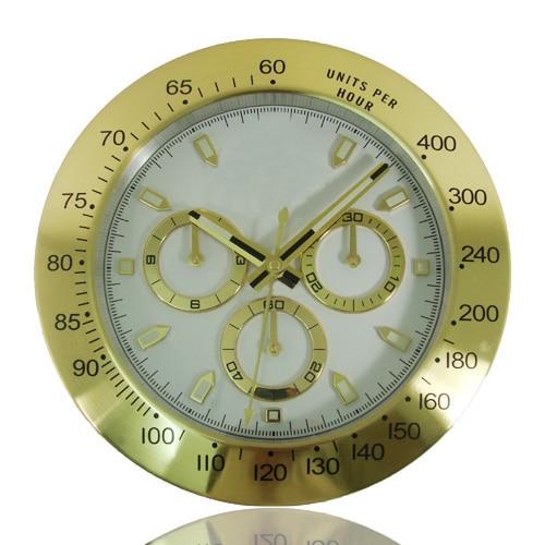 High End Luxury Golden Wall Clocks Brand font b Watch b font Shape Metal Wallclock Scanning