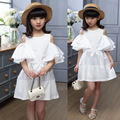 Girls Dresses Summer 2016 Cotton White Kids Girls Party Dress Fashion O-Neck Baby Clothes For Girls Cute Girl Princess Dress