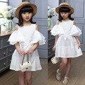 Meninas Vestidos de Verão 2016 de Algodão Branco Crianças Partido Das Meninas Do Vestido Da Moda O-pescoço Roupas de Bebê Para Meninas Bonito Vestido de Princesa Menina
