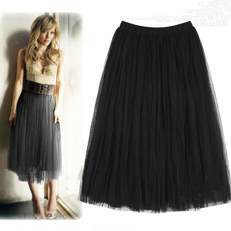 Net Yarn Ball Gown European Empire Style Summer Skirt Black Grey Apricot