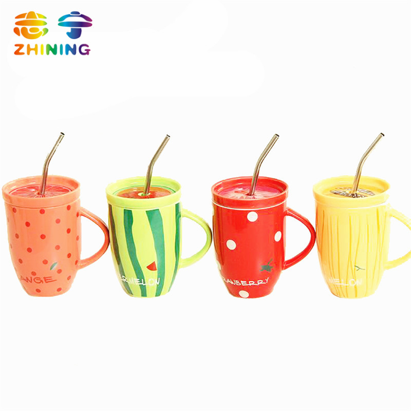 1 PC cute creative fruit pattern ceramic cup with health food grade stainless steel straw new cup wholesale free shipping Y-484