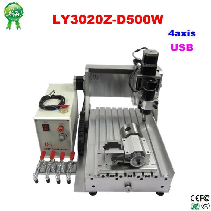 4 axis usb cnc 6040 woodworking machinery 300w drilling milling machine to eu free custom duty free duty to EU LY 3020Z-D500W USB 4axis mini CNC router assembled milling machine
