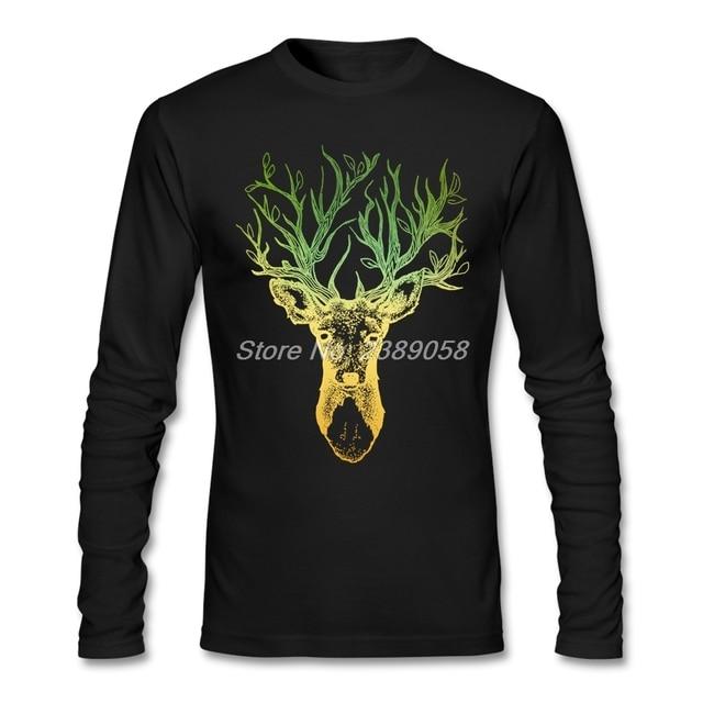 9e857e7640d7 2017 New Coming Men's Shirt Deer Tree Custom Made Graphic Tee Cotton Long  Sleeve Best Price Men T-shirts