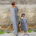 2016 Summer New Fashion Dot printed long dress Family matching clothing plus size mother daughter dresses
