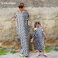 2016 verano nuevo punto de la manera imprimió el vestido largo clothing, más tamaño vestidos de madre e hija familia correspondiente