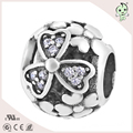 Original Brand Round Bead Pave With Zircon  S925 Sterling Silver Jewelry Charm
