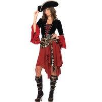 Adult Female Cruel Seas Captain Buccaneer Pirate Cosplay Costume Women Sexy Halloween Fancy Dress With Hat
