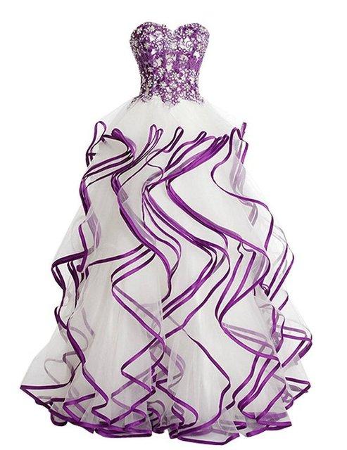 Barato del vestido de Bola Cristales Sweetheart Blanco Púrpura Riza Vestidos de Baile 2017 Vestidos de Noche Formales Vestido de Fiesta de Graduación