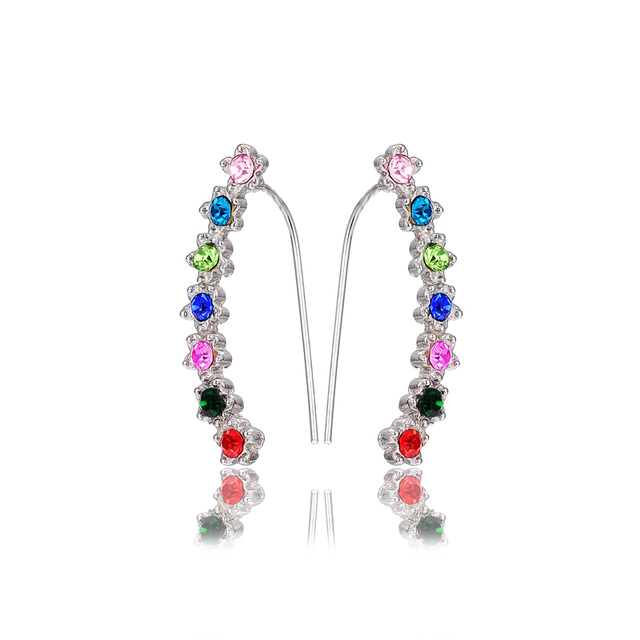Top Cute Ear Cuffs Eartilage Multicolor Long Clip Earrings Crystal Stone For The Ears Climber