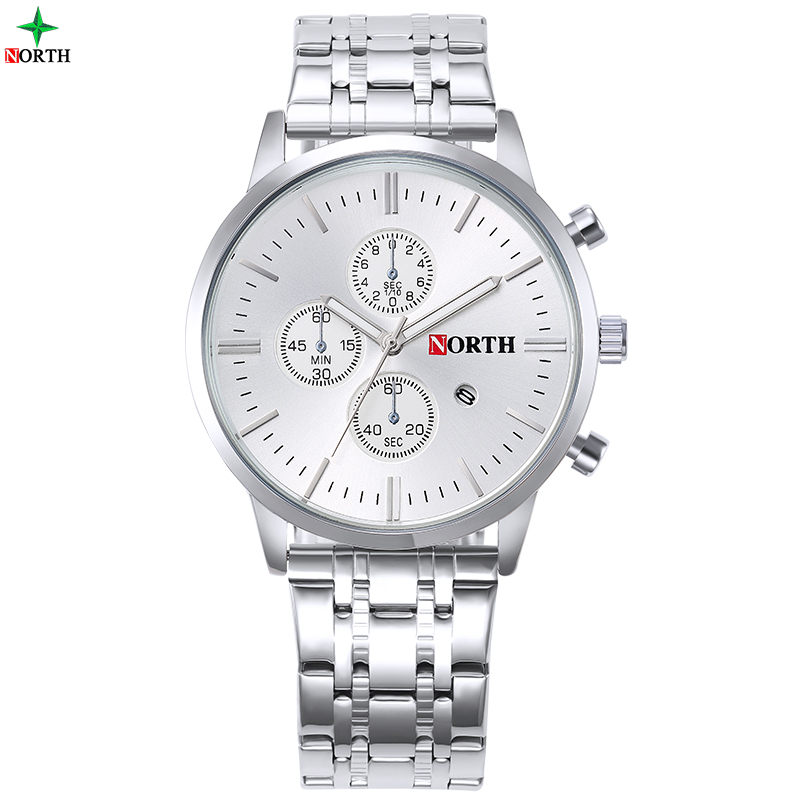 NORTH Male Luxury Wristwatch 30M Waterproof Fashion Stainless Steel Casual Clock  Quartz Men Business Watch with High Quality bailishi casual quartz watch diamonds hour stainless steel wrist watch male clock brand luxury men wristwatch 30m waterproof