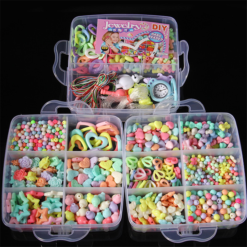 DIY Bracelet Toys, Hot Diy Set Puzzle Acrylic Loom Bands Bead  Accessories Toys, Beads for Children, Educational Gift Toys hot sale beads