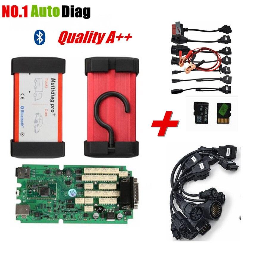 imágenes para Calidad A + + última versión 2014.3 Bluetooth Multidiag pro + igual CDP Plus Scanner + Tarjeta de 4 GB TF + juego completo de cables de Automóviles y Camiones
