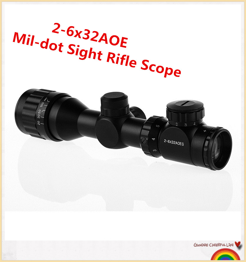 ФОТО Tactical Reflex 2-6x32AOE Red Green Mil-dot Sight Rifle Scope Rail Mount 20mm for hunting free shipping