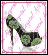 Aidocrystal Sexy damen kristall fisch mund grün und schwarz party schuhe high pumpe high heels 12 CM